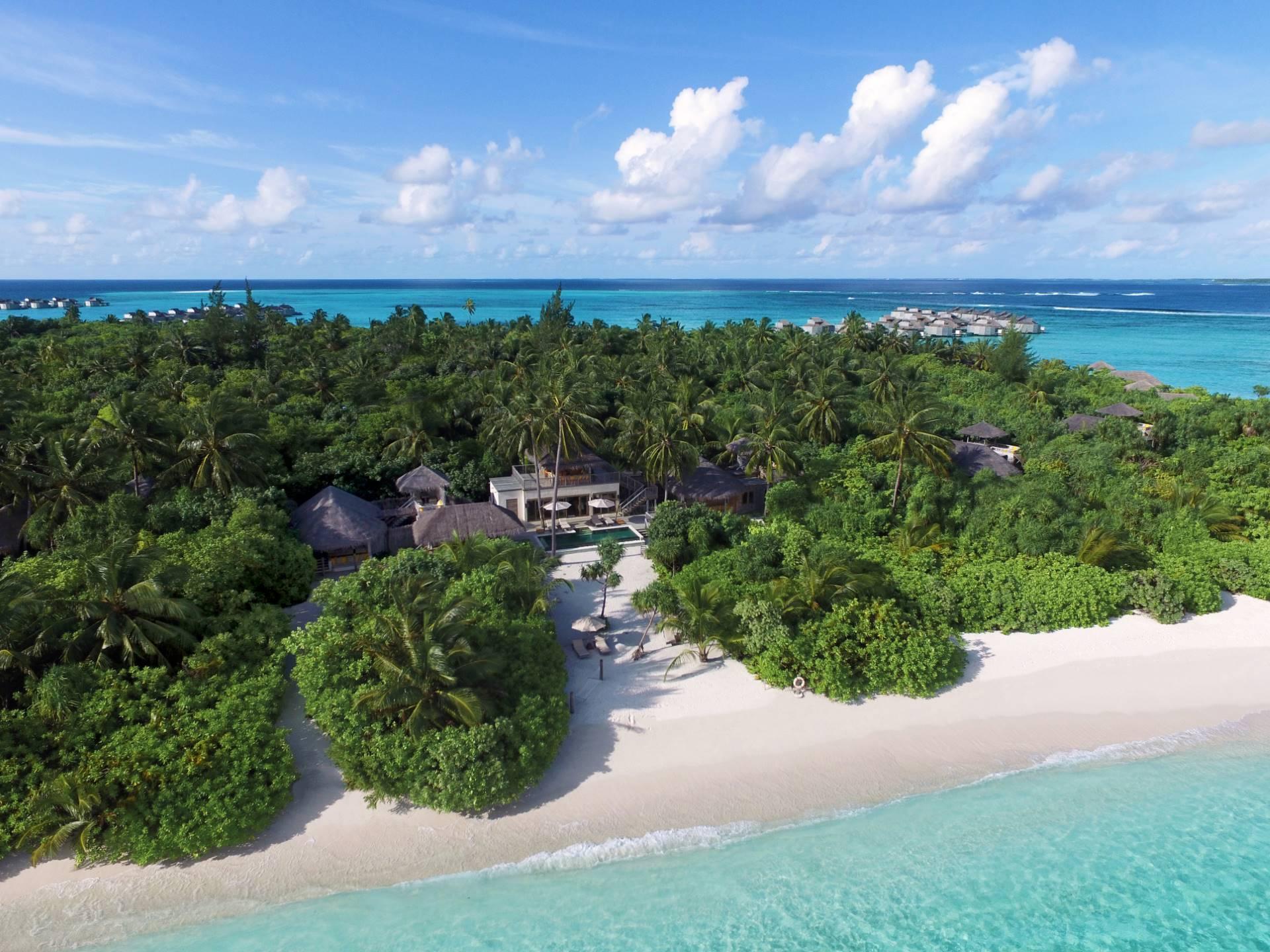 Vista aérea de Two Bedroom Ocean Beach Villa en Six Senses Laamu
