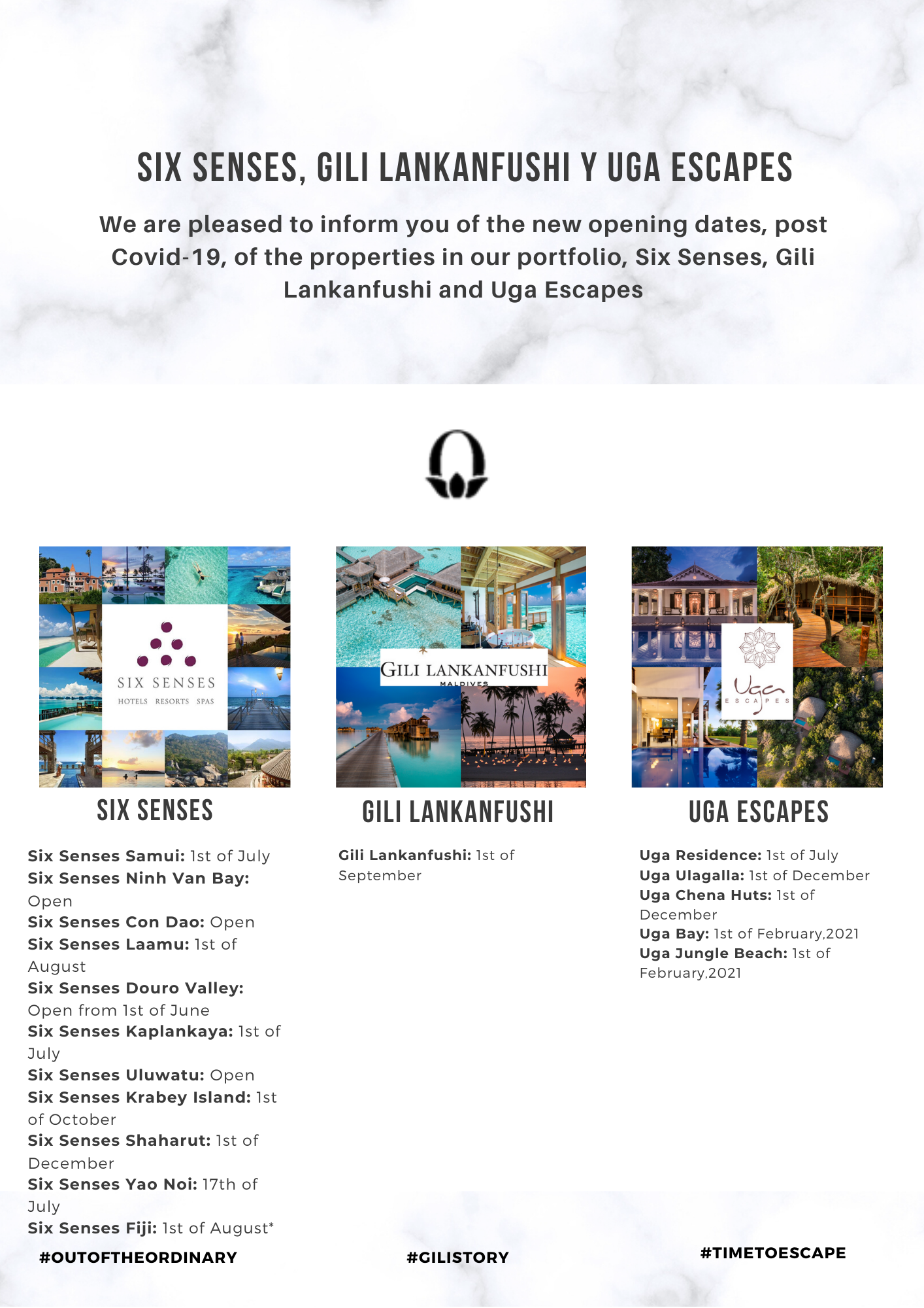 New Opening Dates